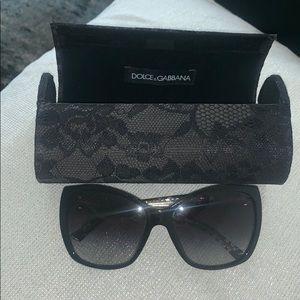 Dolce & Gabbana black lace sunglasses with case